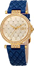 Burgi Women's Diamond & Crystal Accented Quilted Design Dial and Genuine Leather Strap Watch - BUR154