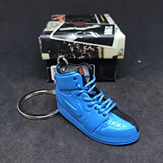 Air Jordan I 1 Retro High Quai 54 Q54 Blue Friends & Family OG Sneakers Shoes 3D Keychain 1:6 Figure + Shoe Box