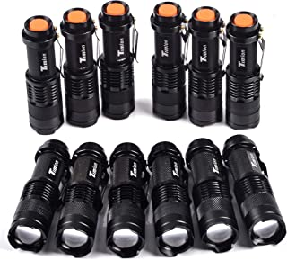 Timlon 12 Pack Tactical Flashlight Water Resist 7W 350lm Ultra Bright Mini Flashlight Cree Q5 Led 3 Mode Torch Adjustable Focus Zoomable Light Lamp (Black)