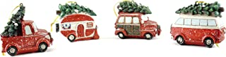 Gerson Christmas Vacation Vehicle Hauling Tree Hanging Ornaments (Set of 4)