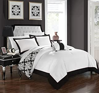 Chic Home 4 Piece Trina Black and White Reversible Medallion Printed Plush Hotel Collection Queen Duvet Cover Set