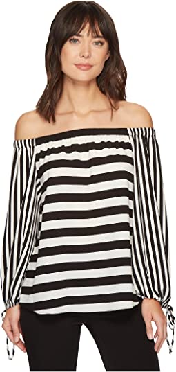 Off Shoulder Even Stripe Bubble Sleeve Blouse