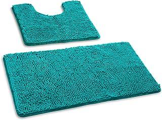 junovo Ensemble de tapis de bain de luxe à poils longs, tapis de bain absorbant 50 x 50 cm pour salle de bain WC et tapis ...