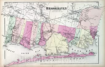 Historic Map - 1873 Brookhaven. Long Island. v1 - Vintage Wall Art - 69in x 44in