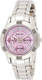 August Steiner Women's Multifunction Fashion Watch - Light Purple Dial with Day of Week, Date, and 24 Hour Subdial on Silv...