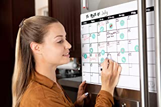 Magna Planner Dry Erase Magnetic Refrigerator Calendar Set - Stain Resistant Monthly White Board Planner with 20 Reusable Icon Reminder Magnets - Markers Included