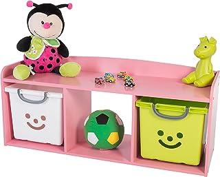 Iris Ohyama Kids Bench Coffre de Rangement pour Enfant, Bois, Rose, 101,4 x 34 x 43,4 cm