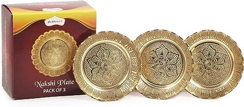 Shubhkart Nakshi Plate (Pack of 3), Handmade Brass Indian Plate for Puja (Medium)
