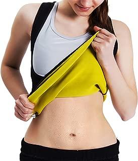Women's Body Shaper Hot Sweat Workout Tank Top Slimming Vest Tummy Fat Burner Neoprene Shapewear for Weight Loss, No Zipper, Black/Yellow
