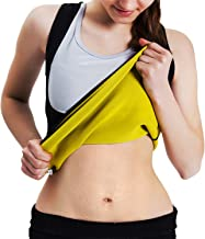 Roseate Women's Body Shaper Hot Sweat Workout Tank Top Slimming Vest Tummy Fat Burner Neoprene Shapewear for Weight Loss, No Zipper, Black/Yellow
