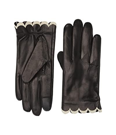 Kate Spade New York Scallop Leather Gloves (Black) Gore-Tex Gloves