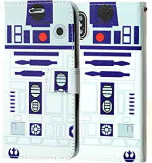 Iphone X Wallet Case , DURARMOR Star Wars R2D2 Premium PU Leather Folio Wallet with ID, Credit Card, Cash Slots Flip Stand Cover Protector Carrying Case for iPhone 10 / X R2D2 Star Wars