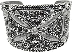 Gypsy Jewels Burnished Silver Tone Wide Statement Cuff Bangle Bracelet