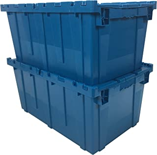 uBoxes, Storage and Packing Plastic Tote Crate Attached Lid Flip Top, 27-Inch x 17-Inch x 12-Inch, (Blue, 2-Pack)