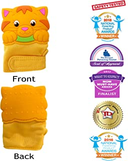 Silli Chews Baby Teething Mittens Glove for Babies Infant Silicone Self Soothing Teether Toy Munch and Bite Chew Toys Newborn Soother Scratch Hand Mitt Animal Finger Puppet Unisex Cat 3-12 Months