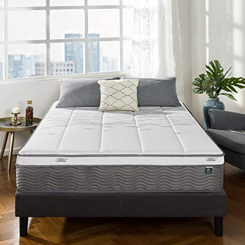 Zinus iCoil Pocket Spring + Memory Foam Queen Mattress 34cm Box Top | Strong Coils, 4 Layers Foam - Med Soft