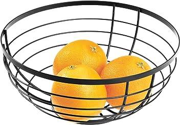Argent Mat Panier de Fruits Rond en M/étal iDesign AUSTIN Corbeille de Fruits au Design Ouvert