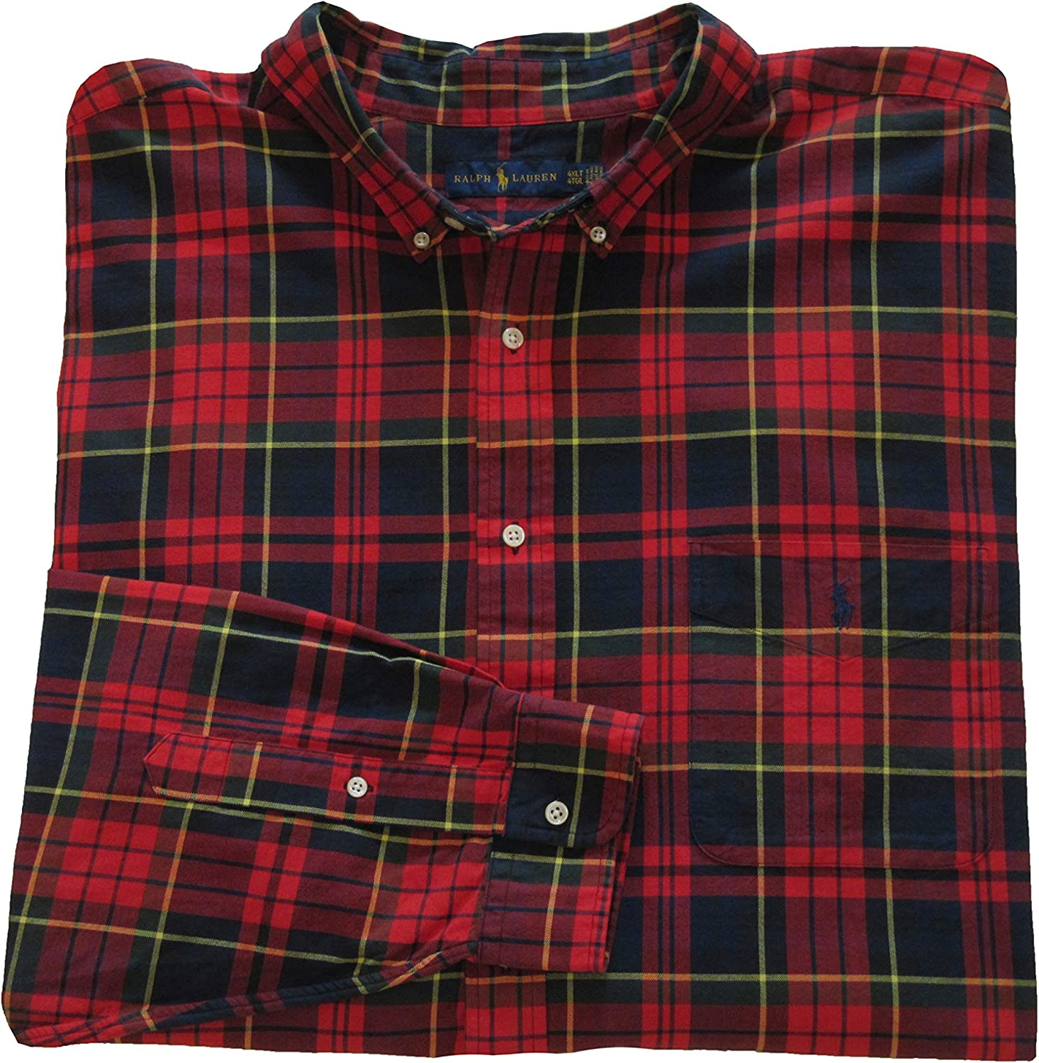 Ralph Lauren Polo Mens Big and Tall Classic Fit Plaid Oxford Shirt