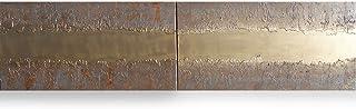 oro y hierro oxidado Abstracto A447 - díptico industrial con textura, arte original, pinturas abstractas con textura del a...