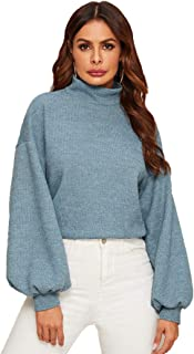 SweatyRocks Women's Casual Mock Neck Lantern Long Sleeve Knit Crop Top Sweater