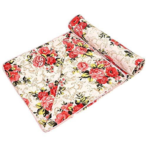 AMZ Anti-Pilling Super Soft Red Floral Print Poly Cotton AC Dohar/Summer AC Blanket (Multicolor,Set of 1) (Double Bed (85 x 90 Inches))
