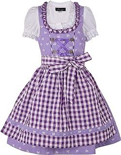 Ramona Lippert Kinder Dirndl für Mädchen - Kinderdirndl Chrissi in lila - 3-teiliges Trachtenkleid - Trachtenmode - Tracht mit Schürze