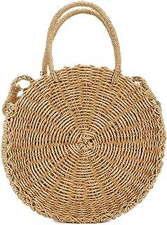 Straw Crossbody Bag, Women Beach Shoulder Summer Top Handle Crossbody Round Purse Ladies Woven Fashion Crochet