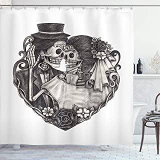 Ambesonne Tattoo Decor Shower Curtain by, Skull Wedding Day of Dead Couple Bride and Groom Endless Love Vintage Artwork Print, Fabric Bathroom Decor Set with Hooks, 70 Inches, Grey White