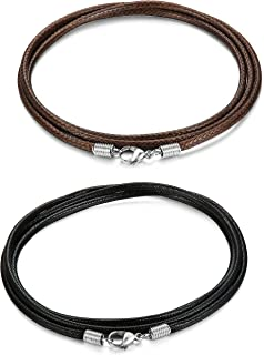 FIBO STEEL 2 Pcs 2.5MM Leather Chain Necklace for Men Women Braided Necklace Chain,16-30 inches