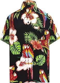 LA LEELA Men's Relaxed Hawaiian Shirt for Boys Button Down Up Shirt Printed D