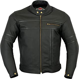 Mens Leather Motorcycle Jacket - Touring Motorbike Jacket With Genuine Biker CE Armour (EN 1621-1) Protection - Texpeed - ...