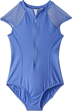 Daisy Mesh Zip Front Leotard (Little Kids/Big Kids)