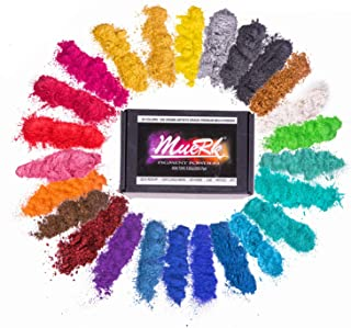 Mica Powder For Epoxy Resin Color Pigment Dye Set - 25 Colours [ 250g/8.82oz ], Muerk Cosmetic Grade Mica Powder for Lip G...
