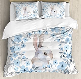 Ambesonne Watercolor Flower Duvet Cover Set, Bunny Rabbit Portrait in Floral Wreath Illustration Country Style, Decorative 3 Piece Bedding Set with 2 Pillow Shams, Queen Size, Blue White