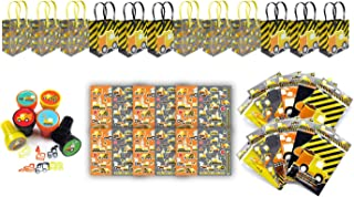 TINYMILLS Construction Birthday Party Favor Set of 60 Pcs (12 Treat Bags, 24 Stampers, 12 Sticker Sheets, 12 Coloring Book Set with Crayons)
