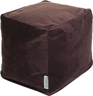Majestic Home Goods Chocolate Velvet Indoor/Outdoor Bean Bag Ottoman Pouf Cube 17