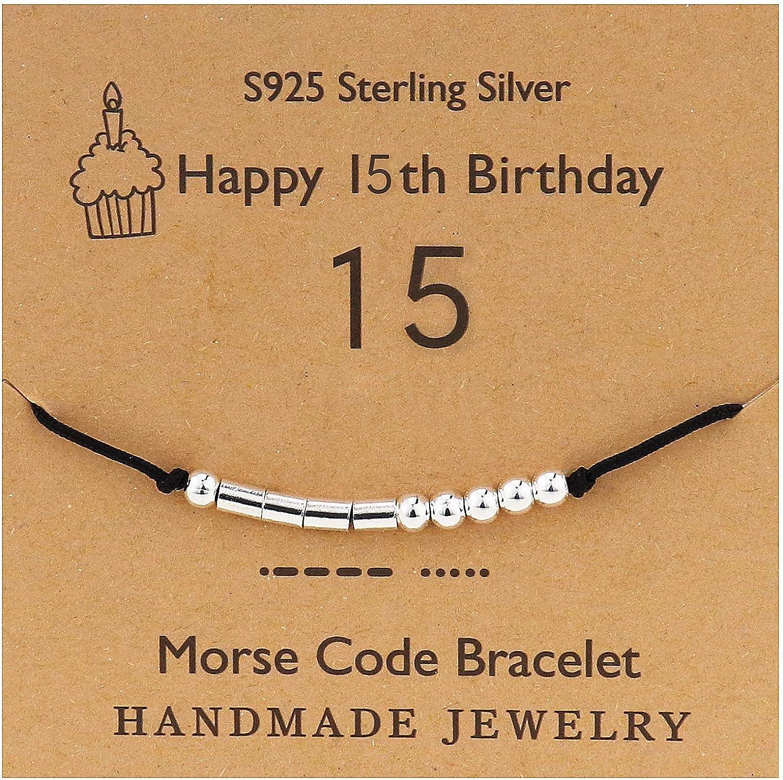 YooAi Morse Code Pulsera Regalos de Feliz cumpleaños para niñas Niños Pulsera de Plata esterlina Joyas de Regalo de cumpleaños para el 12 13 13 14 15 Cuentas en de Seda 16 17 18 18 19 20 21 25
