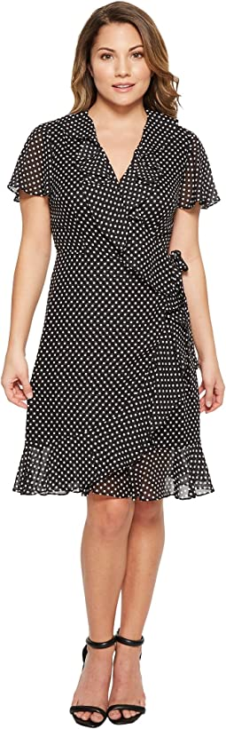 Tahari by ASL - Petite Polka-Dot Faux Wrap Dress