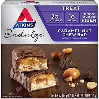 Atkins Endulge Treat Caramel Nut Chew Bar. Rich & Decadent Treat. Keto-Friendly. (5 Bars)