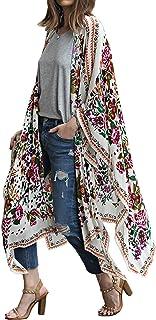 Hibluco Women's Sheer Chiffon Floral Kimono Cardigan Long...