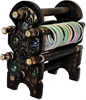 DECORVAIZ Handmade Wooden Bangle Holder Jewellery Stand for Women Carving