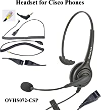 OvisLink Professional Cisco Headset with HD Sound Noise Cancellation and Quick Disconnect Cords – Monaural Call Center Headset for Cisco Phone Models 8821, 7925g, 7975, 7945, 504g, 525g and Many More