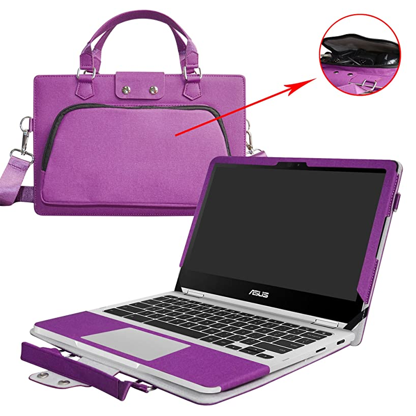 Asus C302CA Case,2 in 1 Accurately Designed Protective PU Leather Cover + Portable Carrying Bag for 12.5