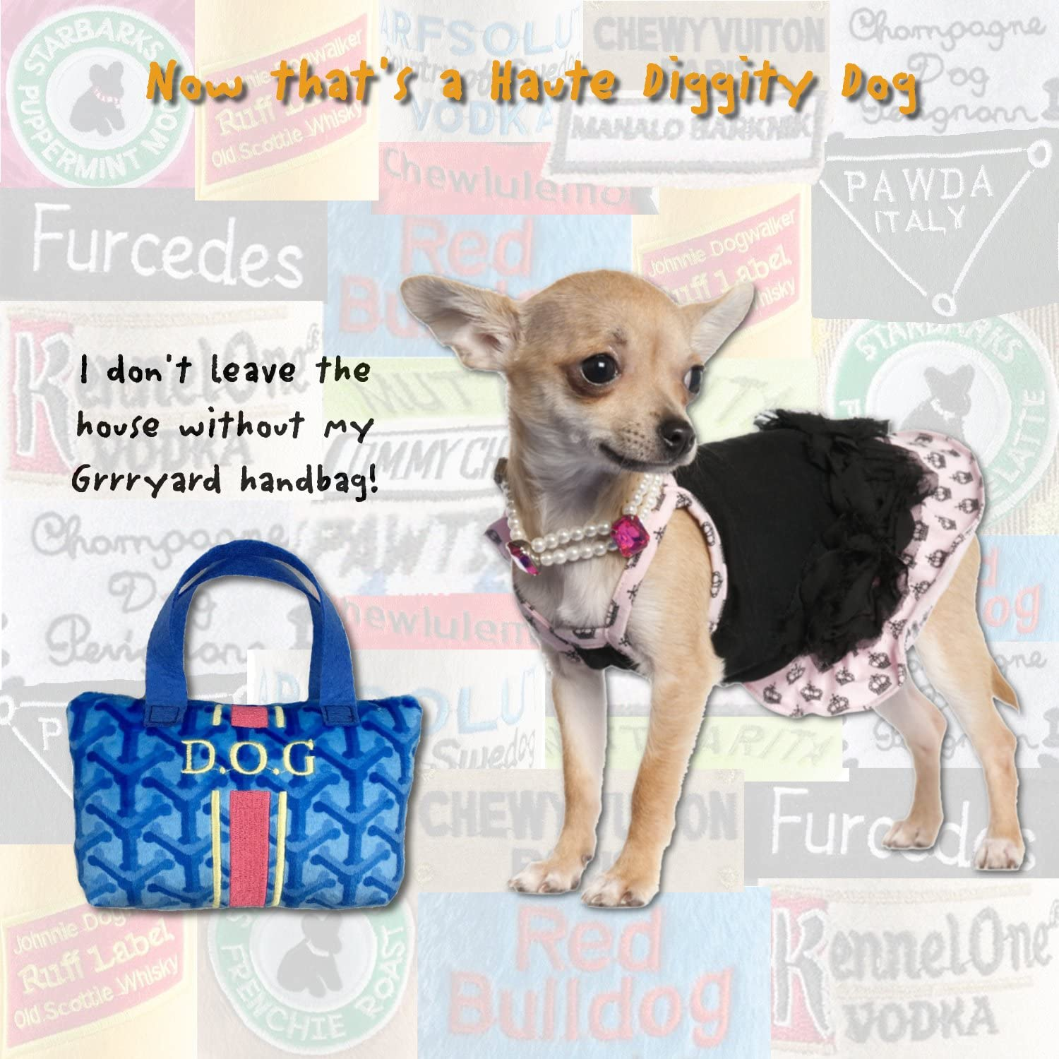 Unique Squeaky Parody Plush Dog Toys Haute Diggity Dog Fashion Hound Collection Pawrses and Pawbags!