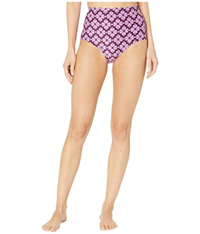 Kate Spade New York Flower Spade Scalloped High-Waist Bikini Bottoms (Raisin) Women