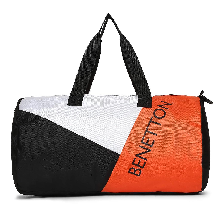 United Colors of Benetton Polyester 50 cms Black White Orange Gym Shoulder Bag