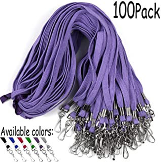 Lanyards 100 Pack Purple Lanyards with Swivel Hook Clips for ID Name Badge Holder (Purple, 100 Pack)