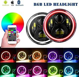 YEEGO 7 Zoll RGB Scheinwerfer Angle Eyes 7' Runde Halo Scheinwerfer DRL Bluetooth Fernbedienung Sahara Sport Rubicon Scheinwerfer, 2 Jahre Garantie