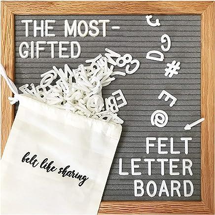 Gray Felt Letter Board 10x10 Inches. Changeable Letter Boards Include 300 White Plastic Letters & Oak Frame.