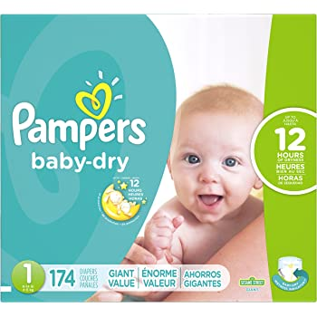 Diapers Size 1/Newborn (8-14 lbs), 174 Count - Pampers Baby Dry Disposable Baby Diapers, Giant Pack